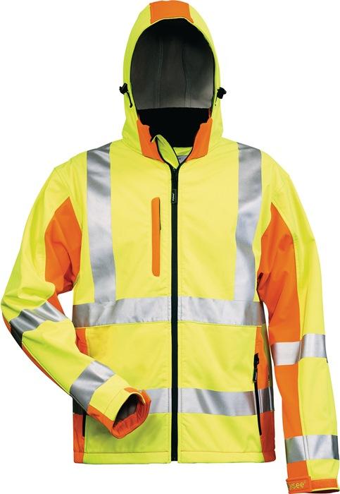 Veiligheidssoftshelljack ENISO20471/3 mt.M geel/oranje 100%PES 3-laags-gelamin.