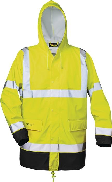 Veiligheids-PU-regenjack Manfred mt.L geel/zwart PU op PES-ondergr.,ca.190g/m2