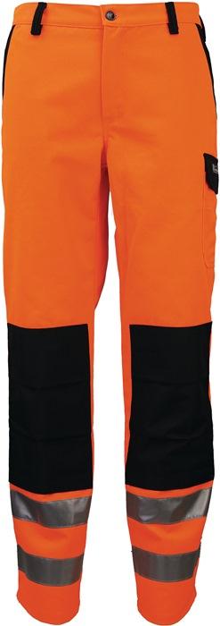 Veiligheidsbroek m.tailleband EN20471 kl.II mt.52 oranje/zwart 80%PES/20%katoen