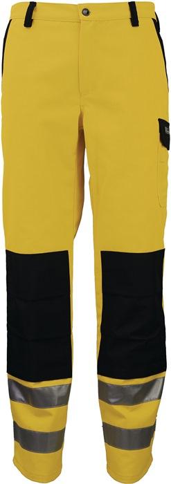 Veiligheidsbroek m.tailleband EN20471 kl.II mt.56 geel/zwart 80%PES/20%katoen