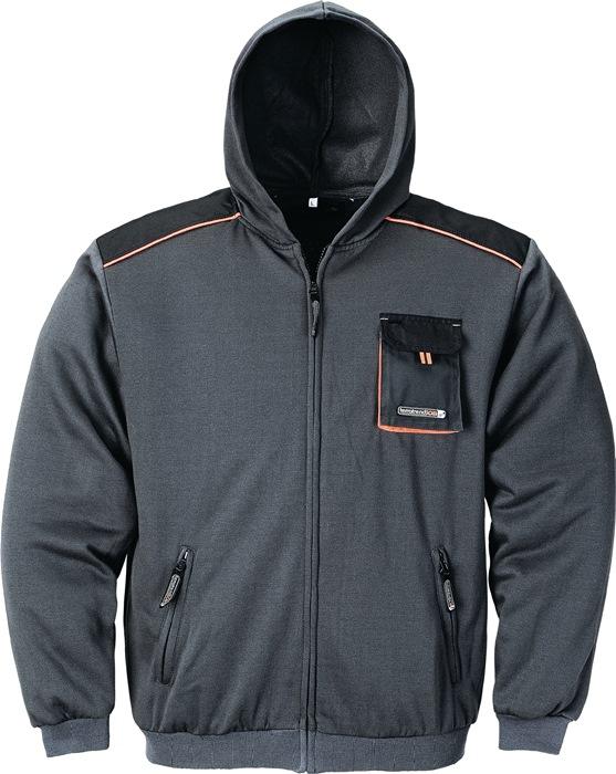 sweater TerraTrend mt.M donkergrijs/zwart/oranje 100%katoen m.capuchon