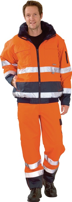 Veiligheidscomfortjack EN 471 EN343 DINENISO6330 mt.S oranje/marine 100%PES