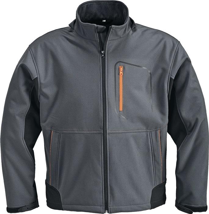 Softshelljack mt.L donkergrijs/zwart/oranje 93%PES/7%EL TERRATREND