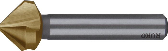 con.e ontbraam- en verzinkboor DIN335-C 90 graden D.12,4mm HSS TiN 3snijvlakken