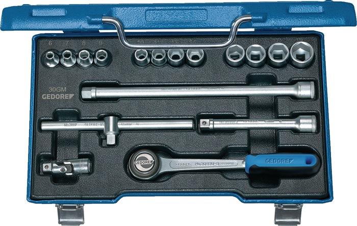 Steeksleutelset 3/8inch 17-delig zeskant 6-19mm GEDORE