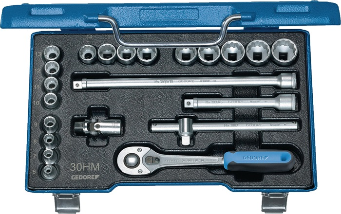 Steeksleutelset 3/8inch 23-delig 6-24mm zeskant profiel met omschakelpal GEDORE