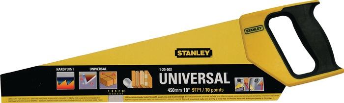Handzaag L.450mm 9 tanden/inch n. slijpbaar Greep m. 45° en 90° aanslag Stanley