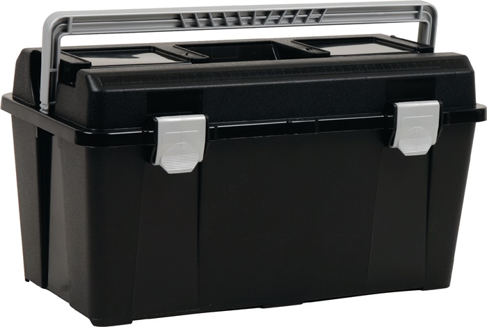 Gereedschapskoffer toolbox 33-34 sorteerbox+gereedschapshouder v.PP zwart/zilver