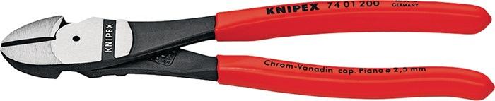 Kracht-zijsnijtang DIN ISO 5749 L.200mm v. pianodraad m.kunststof mantel Knipex