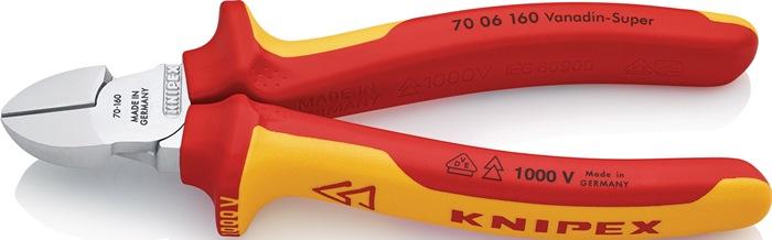 Zijsnijtang DIN/ISO 5749 VDE L.160mm chroom m.antislip m.antislip Knipex