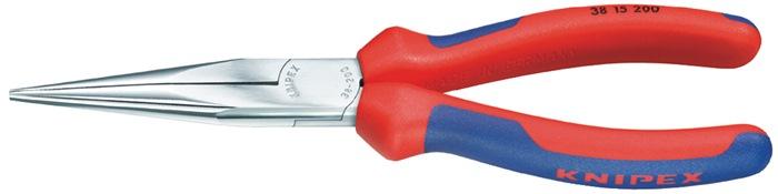 Mech.tang DIN/ISO5745 L.200mm, recht vlak, ronde bek verchr m.meercomp. hndgrn