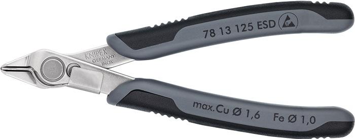 Elektronische zijsnijtang DIN ISO 9654 L.125mm spits INOX ESD m.draadklem Knipex