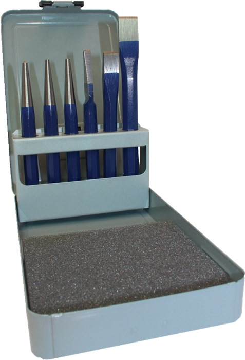 Set gereedschap 6dlg. m.metalen cassette chroom-vanadium PROMAT