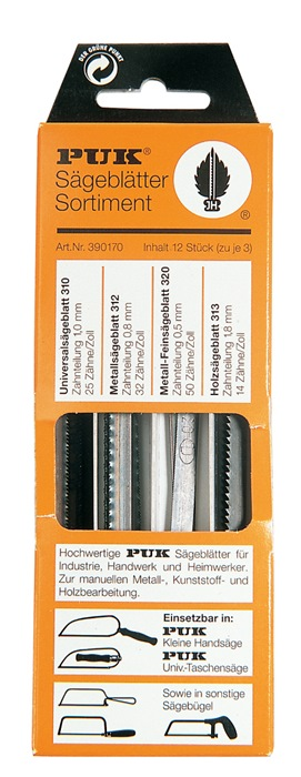 Zaagblad-ass.390170 12-d.PUK universeel/hout grof metaal fijn/extra fijn PUK