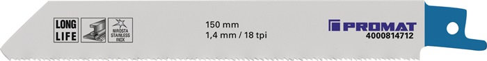 Reciprozaagblad lengte 130mm bimetaal 18 tanden/inch 5 stuks/VE PROMAT