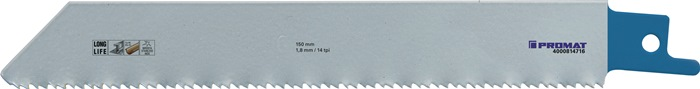 Reciprozaagblad lengte 130mm bimetaal 14 tanden/inch 5 stuks/VE PROMAT