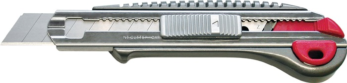 Afbreekmes L.135mm breedte 18mm Volledig metaal m.drukknop incl. 2 lemmets