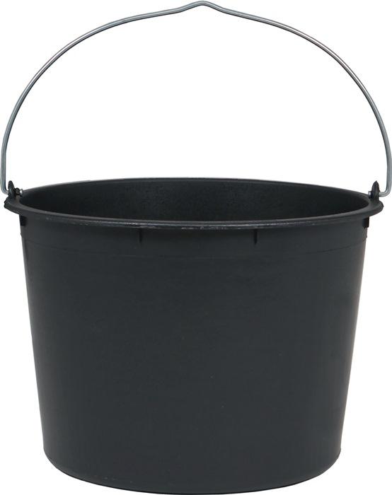 Bouwemmer 20l laag model, zwart