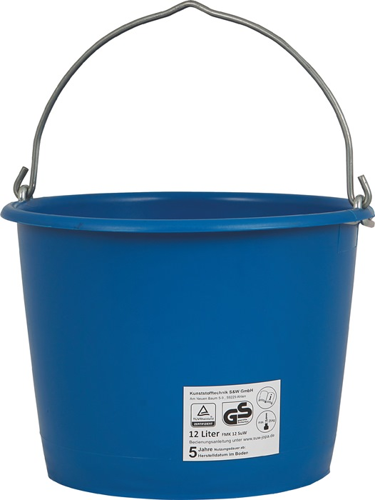 Bouwemmer inhoud 12l zwaar, blauw hefbaar met kraan