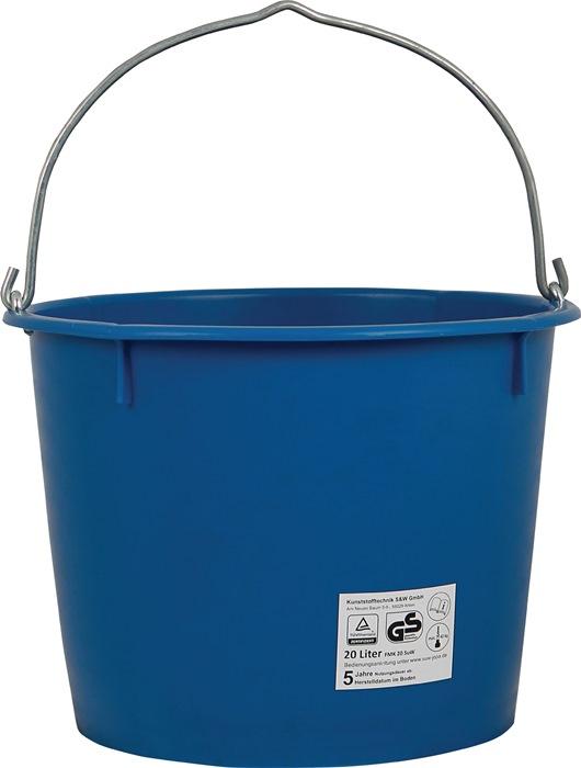 Bouwemmer inhoud 20l zwaar, blauw hefbaar met kraan