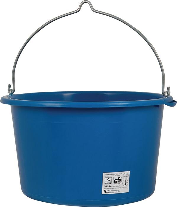 Bouwemmer inhoud 40l blauw hefbaar met kraan
