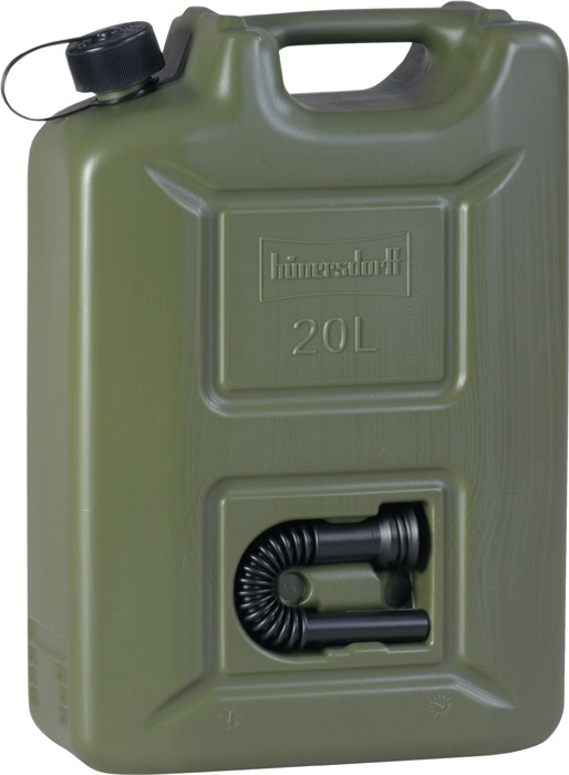 Jerrycan brndst. HD-PE olijf inh. 20l L350xB165xH495mm geïnt. zwarte afvv.
