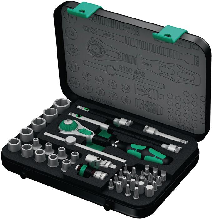 Stksls 8100 SA2 42dlg 1/4in 4-14mm rtlkop inbrtl 2comp-gr 72tnd in cass omschrtl