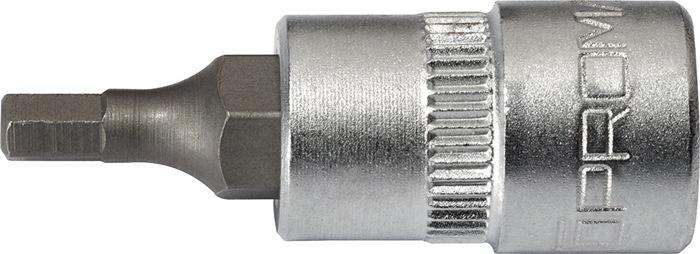 Steeksleutelbit 1/4inch 6kt. 6mm v.inbusbouten tot.L32mm chroom-vanadiumstaal