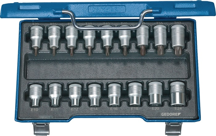 Steeksleutelset 1/2inch, 17-dlg TX20-60 E10-24 chroom speciaal staal GEDORE