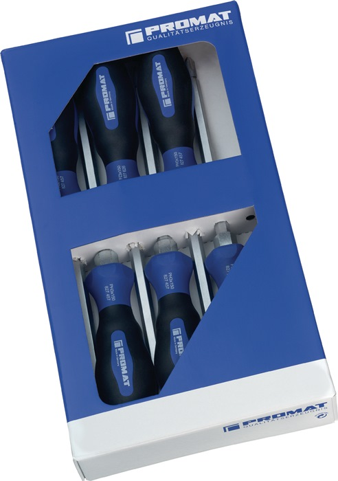 Set schroevendraaiers sleuf 3,5/4,5/5,5/6,5/ PH1/2 m.6kt-aanzet 6-delig PROMAT