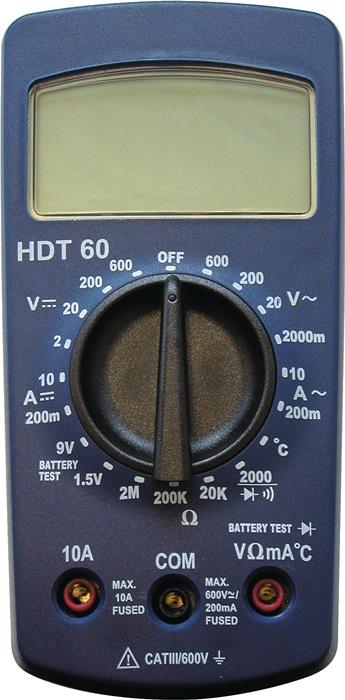 Multimeter HDT 60 digitaal display 2-600 V AC/DC 200 mA - 10 A AC/DC HDT