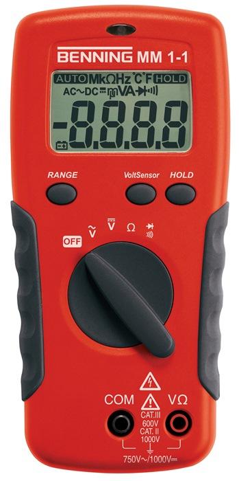 Multimeter mm 1-1 0,1 mV-1.000V DC 1mV-750V DC m.batt./meetleidingen/tas