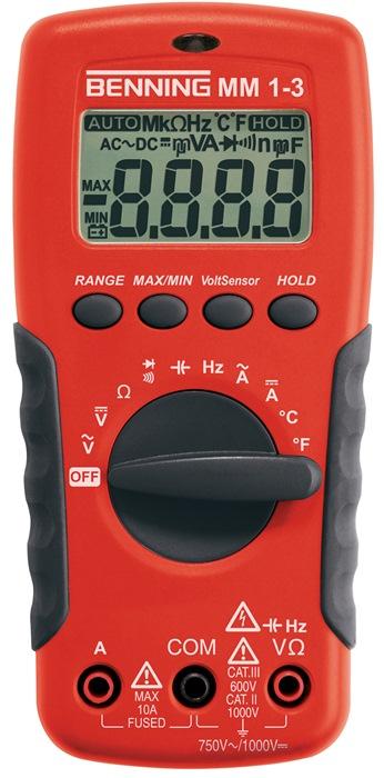 Multimeter mm 1-3 0,1 mV-1.000V DC 0,1mV-750V DC bat./meetl./tas