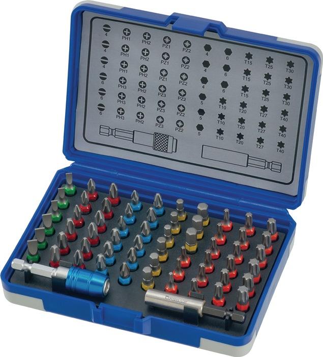 Bitass.62-d.Sleuf/PH/PZD/zeskant/TX 1/4in m.kleurensysteem in kunstst.box PROMAT
