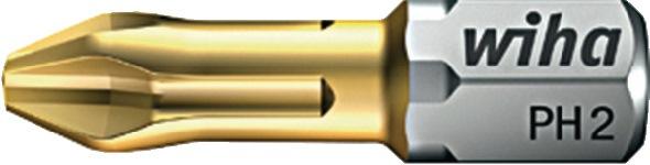 Bit DIN3126/ISO1173 zeskant PH 2x25mm drive C6,3 TiN standaard-torsiebit WIHA