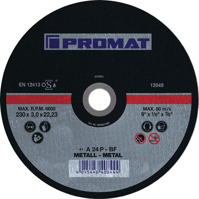 Doorslijpschijf d.180x3mm recht v.metaal boring 22,2mm PROMAT