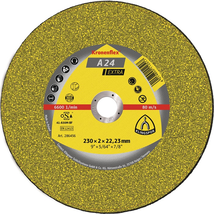 Doorslijpschijf A 24 Extra d.125x2,5mm gebogen v.metaal boring 22,23mm KLINGSPOR