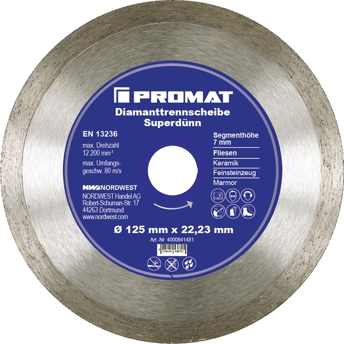 Diamantzaagblad d.125mm segment-H.7mm superdun v.tegels boring 22,23mm PROMAT