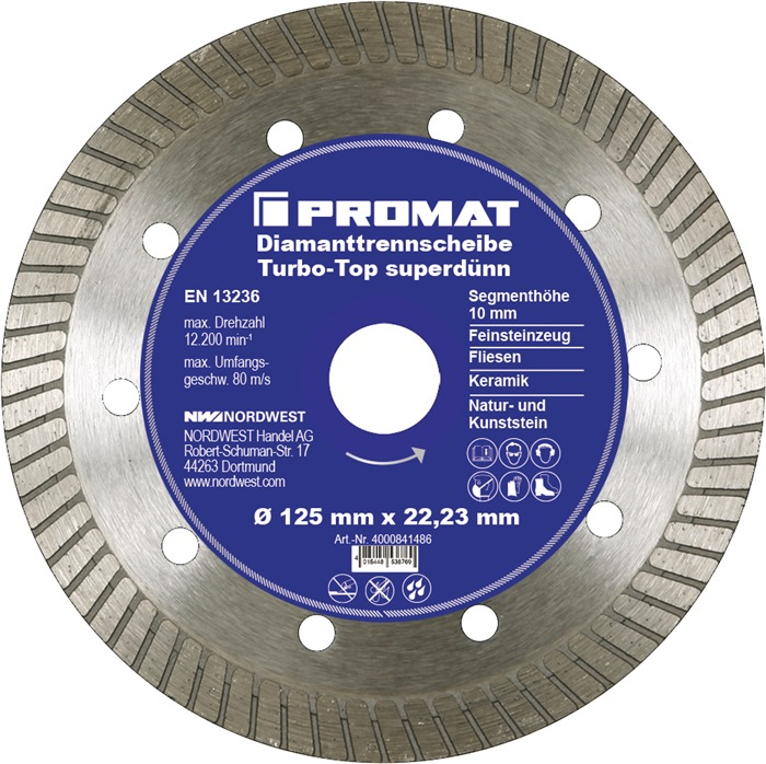 Diamantzaagblad Turbo-Top superdun d.125mm segment-H.10mm bor.22,2mm bor.22,23mm