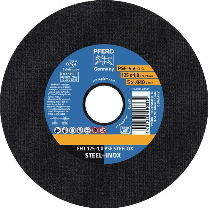 Doorslijpschijf P-PSF d.125x1mm recht v.rvs boring 22,23mm PFERD