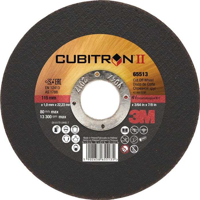 Doorslijpschijf Cubitron II d.125x1x22,23mm korr.60 type 41 3M