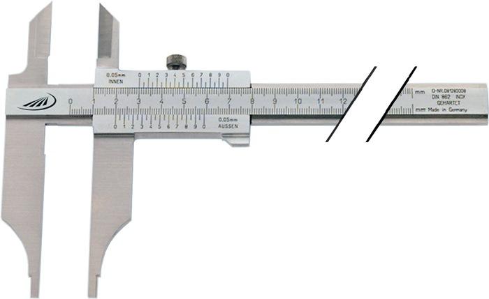 Werkplaatsschuifmaat DIN862 300mm met punten parallaxvrij snavel-l.90mm PREISSER