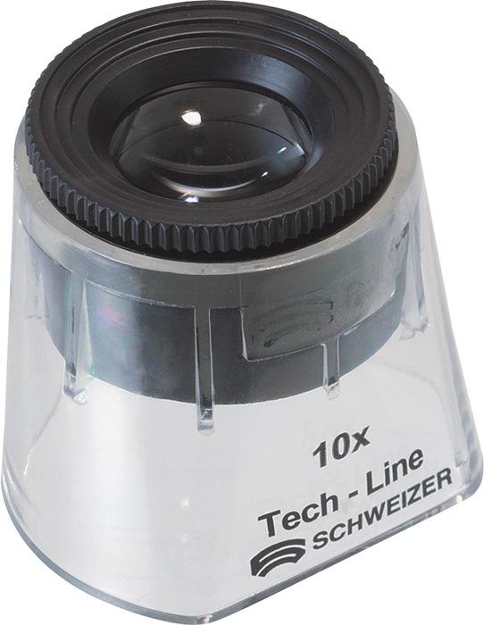 Staande loep Tech-Line vergroting 10x Focus Fix lenzen-d.30mm SCHWEIZER