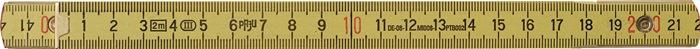 Houten duimstok L.2m geel m. veer nauwkeurigheid III