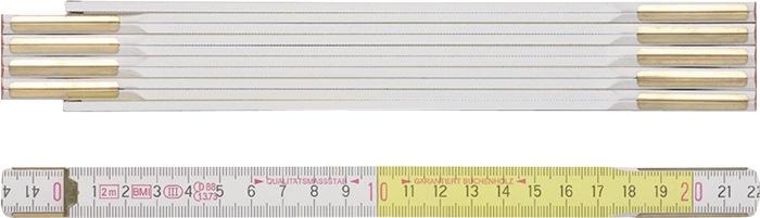 Houten duimstok Duimstok 3m wit geel verborgen klinknagels versterkte leden BMI