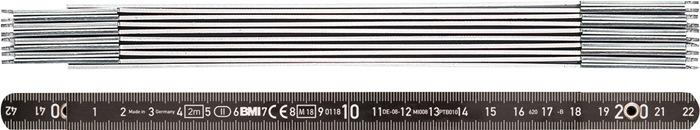 Duimstok nauwk. sklasse II alu L.2m m.veersch. witte cijfers witte getallen BMI