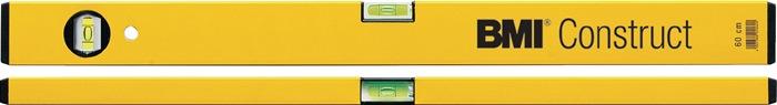 Waterpas Construct L.80cm alu. geel gepoedercoat meetnauwkeurigheid 1mm/m BMI
