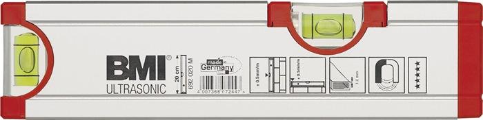 Waterpas Ultrasonic L.20cm alu. m.magneet m.horizontale waterpas BMI