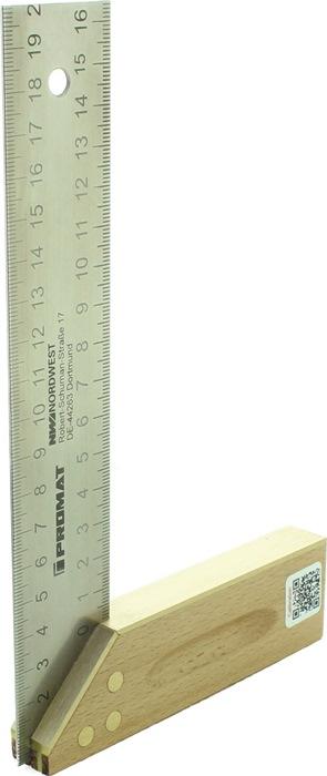 Timmermanswinkelhaak L.250mm m.stal. tong/verstek/maatverdeling beukenhout/ms.