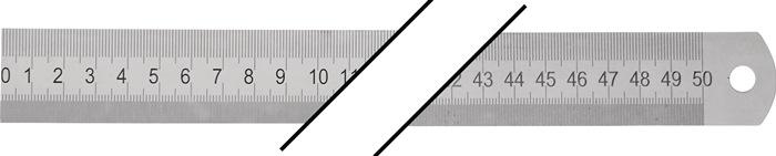 Stalen maatstok l.500mm buigbaar Verdeling A = mm/mm PROMAT
